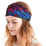 Casualbox | Tie-Dye Hippie Headband | Elastic Bandana | Head Cover Wrap for Men & Women | Psychedelic Flower Pattern | 60's 70's Retro Bohemian Boho