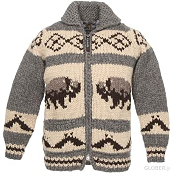 Kanata Full Zip Cowichan Sweater 39982: Charcoal Buffalo