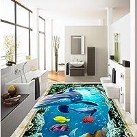 Weaeo Hd 3D海洋世界イルカフロア塗装自己接着防水リビングルームベッドルームバスルームフローリング壁画-280X200Cm
