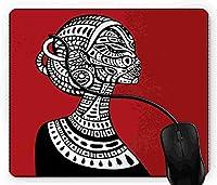 マウスパッド アフリカの女性, 疲労低減 ワイヤレスマウスパッド 耐久性が良い 滑り止めゴム底 滑りやすい表面 マウス用パット 1D1232