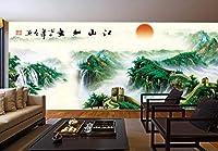 昇る太陽と赤い太陽風景画3D壁垂直エンボス加工スーパーフレスコストライプウォッシャブルウォッシャブルテクスチャ理想的なビュー耐光性ステッカーモダンエフェクトインストール不織布装飾