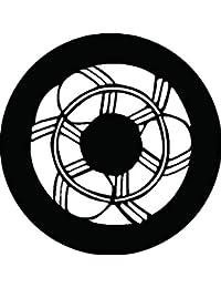 家紋シール 三つ鷹の羽丸紋 布タイプ 直径40mm 6枚セット NS4-1491