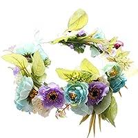 YAZILIND 結婚式花嫁ボヘミアンスタイルフラワーリース花嫁介添人クラウンガーランドビーチフローラルブライダルヘッドドレス (パープルブルー)