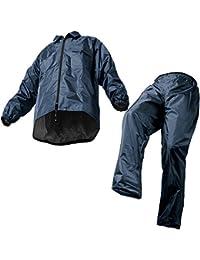 マック レインスーツ ネイビー L 裾上げ調整可能 防水 アジャストマック AS-5100