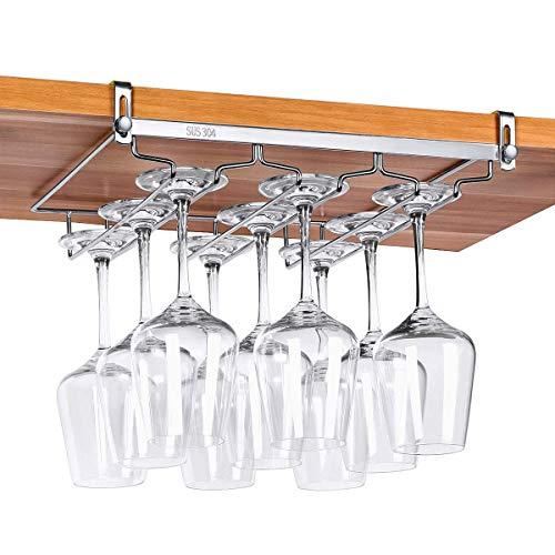 ワイングラスホルダー 吊り下げ 穴あけ不要 差し込み グラスホルダー キッチン収納 棚厚さ調整可能 ステンレス製 簡単に取り付け 3レーン Beneray
