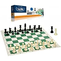 Best Value Tournament Chess Set - 90% Plastic Filled Chess Pieces and Green Roll-up Vinyl Chess Board by WE Games [並行輸入品]