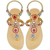 Luticessy Women's Rhinestone Gladiator Flat Sandals Crystal Jeweled Slingback Bohemia Flip Flops Party Wedding Shoes
