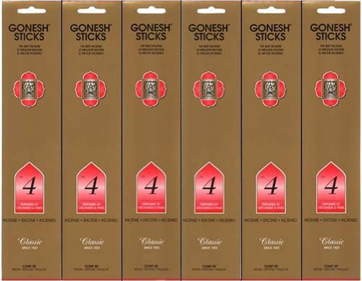 領事館発音するそれるGONESH インセンス No.4 スティック 20本入り X 6パック (120本)