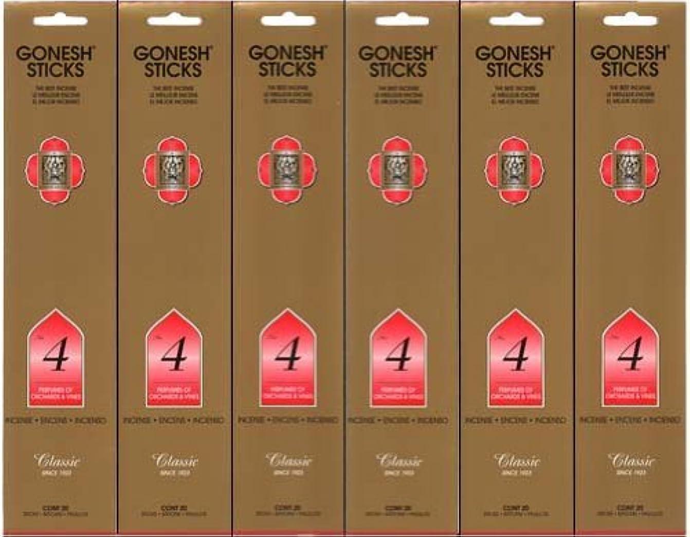 花弁ファイナンススチュアート島GONESH インセンス No.4 スティック 20本入り X 6パック (120本)