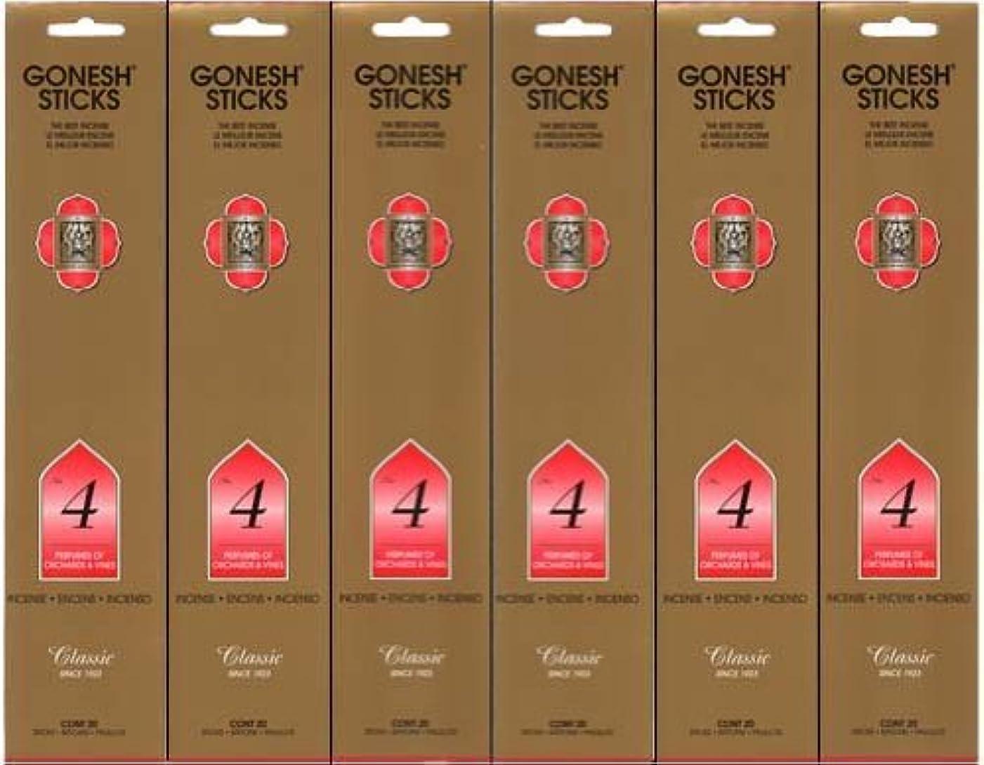 六月ピン科学GONESH インセンス No.4 スティック 20本入り X 6パック (120本)