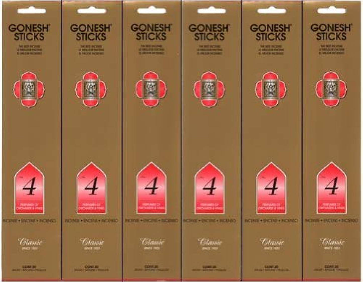 昆虫を見る近傍数字GONESH インセンス No.4 スティック 20本入り X 6パック (120本)