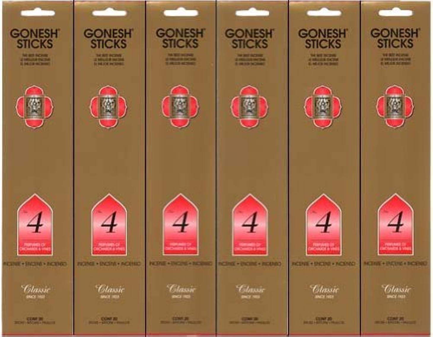 チーターエピソード道徳教育GONESH インセンス No.4 スティック 20本入り X 6パック (120本)