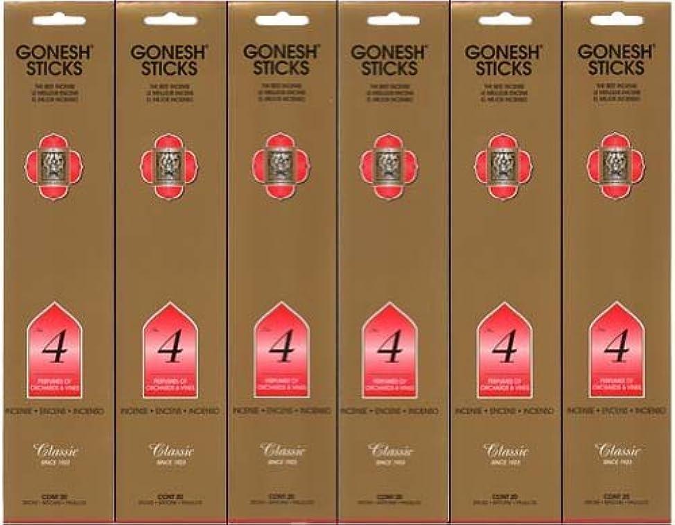 肝立場森GONESH インセンス No.4 スティック 20本入り X 6パック (120本)