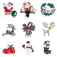 女性党ギフトのためのラインストーンクリスタルクリスマスの装飾を持つ9個のクリスマスブローチセット