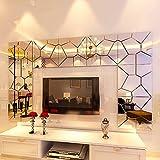 NHsunray 壁貼りシール アクリル 割れない鏡 DIY アート 現代芸術 おしゃれ シルバー ミラー ウォールステッカー インテリア 鏡効果 ホームデコレーション (幾何学的なパズル三次元結晶ミラーの壁のステッカー28枚入)