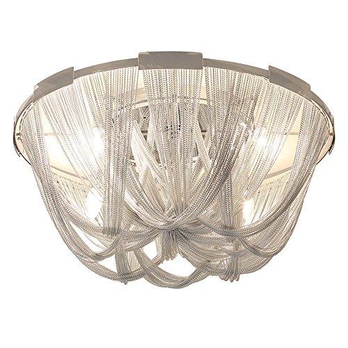 Wenrun照明リビングルームロビーシルバーアルミチェーンタッセルペンダント天井ランプシャンデリアランプコールドホワイトE12 LED電球 (D70cm x H32cm)