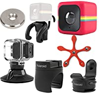 Polaroid Cube ACT II HD 1080p Lifestyle Action Video Camera (Red) Gift Bundle + Waterproof Case + Suction Mount + Flexi Pod Mount + Magnet Adapter + Monkey Stand + Bike Mount + Strap Mount