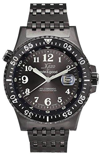 Xezo for Unite4:good エア・コマンド メンズ ダイバー高級限定品スイス製サファイアクリスタル使用自動巻き時計。耐水性:30ATM。2つのタイムゾーン可能。隆起ベゼル。[並行輸入品]