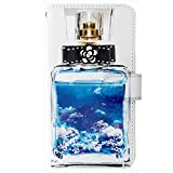TeamS(チームエス) 手帳型 Perfume 香水 デコ ケース for AQUOS R SH-03J SHV39 604SH [LL] オーシャン カードポケット付き カメリアリボン ミラータイプ