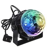 KINGSO ミニレーザーステージ照明 カラフル水晶魔球LED ステージ/ ディスコ/パーティー/KTV/カラオケ/クラブ/バー照明用ライト 5W RGB ブラック殻 音声起動 自走機能付 100-240V
