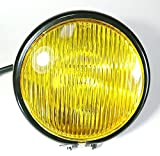 ANR バイク ベーツライト 汎用 ヘッドライト 4.5インチ イエローレンズ ブラックケース カフェレーサー エイプ モンキー