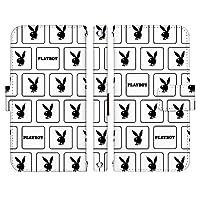 らくらくスマートフォン me F-01L ケース [デザイン:21.ロゴ スクエア(WH)/マグネットハンドあり] プレイボーイ PLAYBOY 手帳型 スマホケース カバー docomo ドコモ f01l