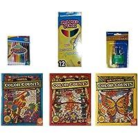 Color Counts Suncatchers /トロピカル/カーニバルカラーリングブック/クレヨン/色鉛筆/ 6-pcバンドル