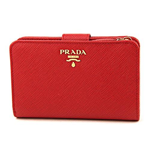 プラダ(PRADA) サフィアーノ メタル SAFFIANO METAL 1ML225 QWA F0505 2つ折り財布 レッド 赤 [並行輸入品]