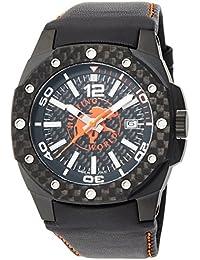 [ハンティングワールド]HUNTING WORLD 腕時計 タフ・エレファント ブラック×オレンジ文字盤 クォーツ 10気圧防水 カーボンベゼル HW026OR メンズ 【正規輸入品】