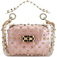 Fashion 2 in 1 Clear Tote Bag Rivet Transparent Design Handbag Metal Chain Clutch Purse Shoulder Bags