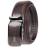 KEAILE ベルト メンズ ベルト 革 ベルト メンズ ビジネス ベルト カジュアル オートロック ビジネスカジュアル 通勤メンズ 穴なし ベルトブラウン