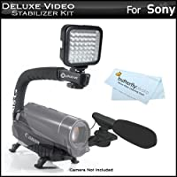 デラックスLEDビデオライト+ミニズームショットガンマイクW /マウント+ビデオスタビライザーキットfor Sony HDR - cx160、hdr-cx560V、hdr-cx700V、hdr-hc9、hdr-pj10、hdr-pj30V、hdr-pj50V、hdr-td10、hdr-xr160、hdr-xr550V、nex-vg10、nex-vg20Includesハンドル+マイク+ LEDライト