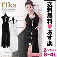 ティカ 手書き風プリントロングテールドレス 前ミニ ロングドレス Sサイズ ブラック