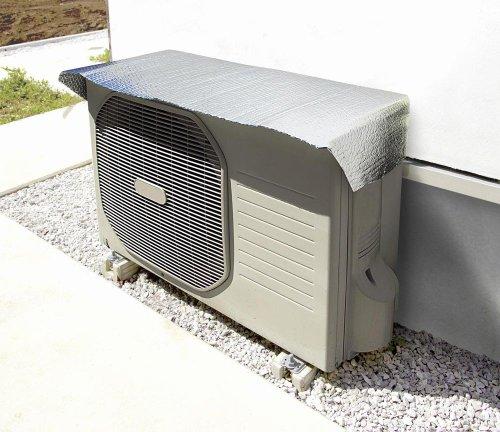 エアコン室外機 日よけフード 温度差-10.2℃ アルミ断熱 (取り付け簡単 強力マグネット8個付)3枚セット