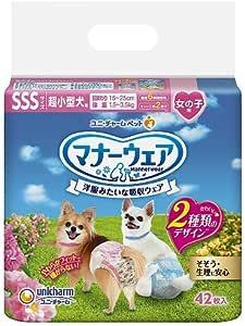 ユニチャーム マナーウェア 女の子用 SSSサイズ 超小型犬用 ピンクリボン・青リボン 42枚×12個入