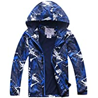 M2C Boys Geometric Fleece Lined Waterproof Jacket with Hood