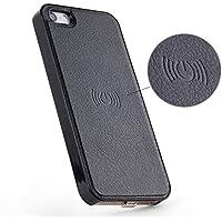 Antye iPhone SE / 5S / 5 Qiワイヤレス充電レシーバケース、 柔軟な雷コネクタ、黒と革仕上げスリムフィット裏カバー (iPhone SE/ 5S/ 5)