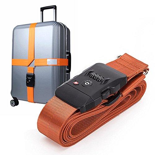 998c8cd4b3 スーツケースベルト TSAロック搭載 長さ調節可能 3桁ダイヤル式 十字型