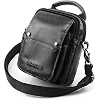 SPAHER Mens Genuine Leather Waist Bag Cross Body Bag Messenger Shoulder Bag Handbag Mobile Phone Small Belt Pouch Holster Case Men Gift for Money Purse Wallet