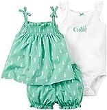 Carter's(カーターズ) ベビー ガールズ キャミソール / ボディスーツ / ハーフパンツ 3点セット (グリーン) Baby Girls' 3-Piece Set (9M(70))