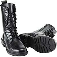 BURGAN 802 Combat Jump Boot (Side Zipper) | Black Unisex High Lace Up Military Paratrooper Style | Mid-Calf Genuine Full Leather for Men and Woman | Slip on Feature | Tall Lightweight Fashion Shoes
