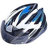 自転車サイクリングヘルメット 超軽量通気バイクヘルメットバイク用スポーツタイプ 大人やこども用 安全 軽量 高剛性 サイズ調整可能 テールランプLEDライトとフロントバイザー付き ブルー&ホワイト