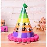 HuaQingPiJu-JP 誕生日パーティー用品レインボーコーン帽子リトルソフトボールキャップ_Colorful
