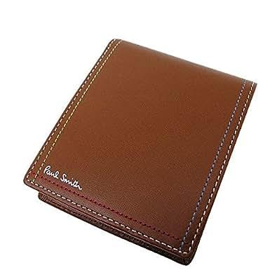 ポールスミス PaulSmith メンズ 2つ折り財布 レザー 黒/茶 PSK707 小銭入れあり (ブラウン)