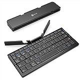 iClever Bluetoothキーボード 折りたたみ式 二つ折り スタンド一体型 軽量 薄型 ワイヤレスキーボード iPad iPhone用 iOS/Android/Windowsに対応 IC-BK11(ブラック)