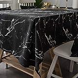 WANGPIPIのテーブルクロスの長方形、北欧の大理石の黒の創造的なエレガントな綿とリネンの ファブリックテーブルカバー、ビュッフェテーブルパーティーの休日のディナーに適した