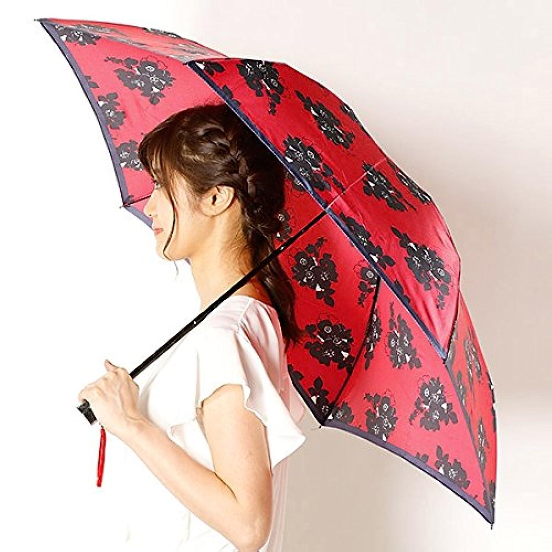 ビバユー(雑貨)(VIVA YOU) 雨傘(折りたたみ傘/3段/ミニ傘)花柄/影花(婦人/レディース)【33レッド/**】