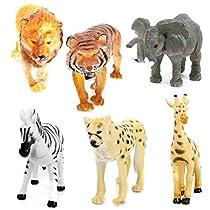 ROSENICE 6pcs Mini Wild Animals Action Figure Elephant Giraffe Leopard Lion Tiger Zebra