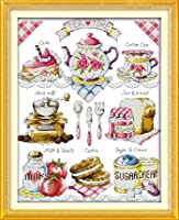 Zhenfun 美味しいケーキクロスステッチキット 11CT図柄印刷手芸刺しゅう 手工装飾品 DIYプレゼント [並行輸入品]