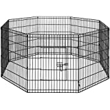 """30"""" Foldable Pet Dog Puppy Playpen Portable Exercise Cage 8 Panel Black"""